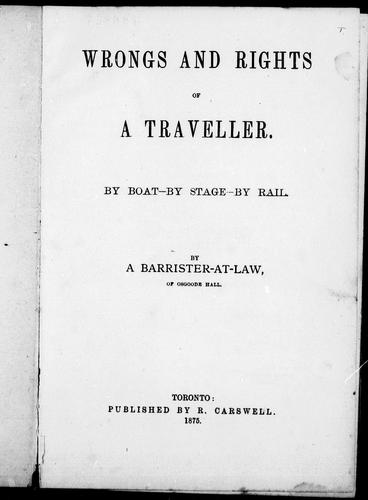 Wrongs and rights of a traveller by R. Vashon Rogers