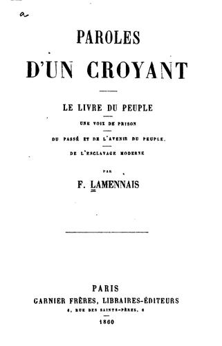 paroles d'un croyant by f. lamennais