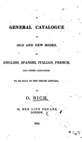 A General Catalogue of Old and New Books by Obadiah Rich