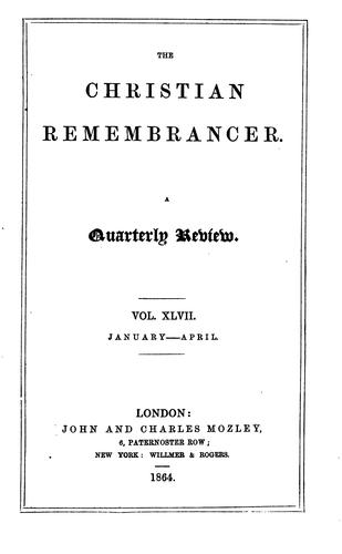 The Christian Remembrancer by John and Charles Mozley