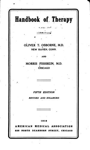 Handbook of Therapy by Morris Fishbein