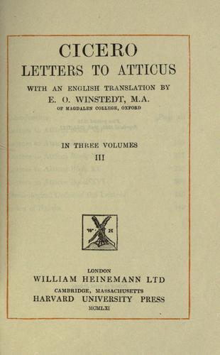 Letters to Atticus by Cicero