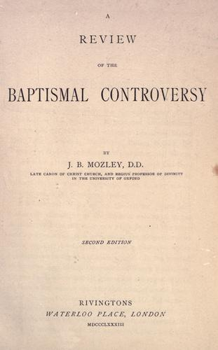 A review of the baptismal controversy