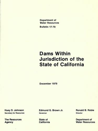 Dams within jurisdiction of the State of California by California. Dept. of Water Resources.