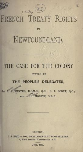 French treaty rights in Newfoundland by Winter, James Spearman Sir
